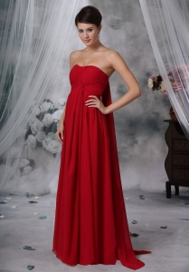 Red Empire Maxi Evening Dresses Strapless Watteau