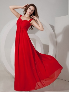 Red Empire Maxi Evening Dresses Straps Chiffon