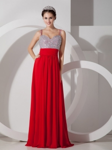 Red Empire Prom Pageant Dress Straps Chiffon Beading