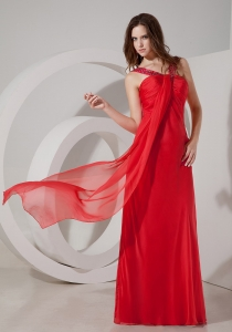 Red Straps Chiffon Beading Maxi/Pageant Dresses