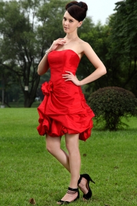 Red Princess Strapless Holiday Graduation Dresses