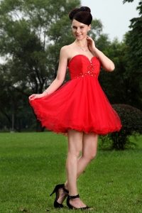 Red Princess Prom Holiday Dresses Sweetheart Oragnza