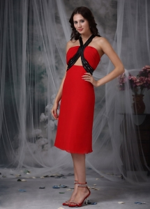 Red Black Holiday Graduation Dresses Column V-neck Beading