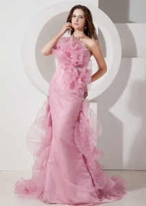 Pink Column Prom Pageant Dress Strapless Brush Train