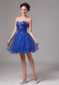 Royal Blue Graduation Cocktail Dress Sweetheart Mini-length