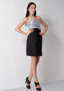 Silver Little Black Homecoming Dresses Strapless Taffeta