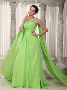 Spring Green Prom Pageant Dress A-Line V-neck