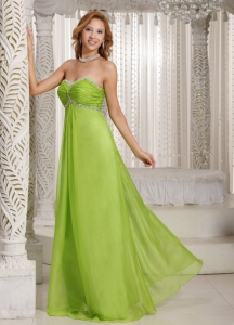 Spring Green Maxi Celebrity Dresses Sweetheart Beading