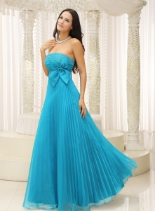 Teal Maxi Evening Dresses Bowknot Pleat Beading