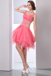Watermelon Straps Organza Beading Prom Homecoming Dress