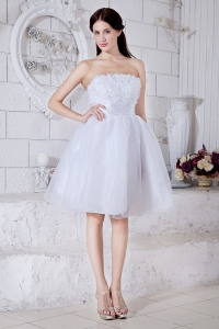 White A-line Holiday Graduation Dresses Princess