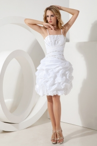 White A-line Holiday Cocktail Dresses Princess Taffeta