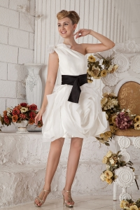 White Prom Holiday Dresses One Shoulder Organza