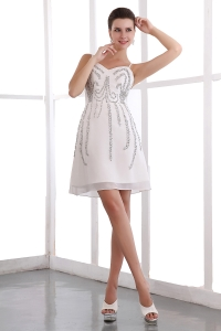 White Straps Organza Sequins Prom Holiday Dresses