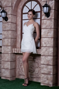 White Column Cocktail Homecoming Dresses Spaghetti Straps