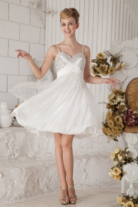 White Empire Chiffon Beading Prom Homecoming Dress