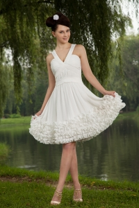 White Holiday Homecoming Dresses Empire Chiffon Ruch