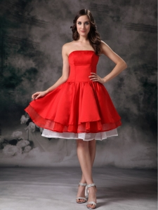 White Red Taffeta Graduation Holiday Dress A-line