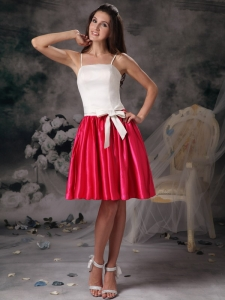 White Red Prom Graduation Dress Straps Taffeta Bow