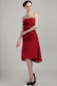 Wine Red Column Holiday Graduation Dresses Strapless