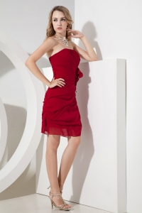 Wine Red Column Sheath Chiffon Prom Holiday Dresses