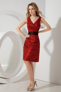 Wine Red Column Prom Holiday Dresses Taffeta