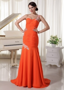 Chiffon Pageant Evening Dress Orange Red Sheath
