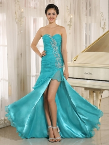 Teal High Slit Pageant Evening Dress Organza Ruch