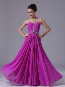 Halter Pageant Evening Dress Beading Fuchsia Chiffon