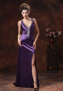 High Beaded Pageant Evening Dress Decorate Shoulder