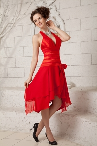 Red Prom Holiday Dresses Empire Halter Chiffon
