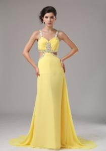 Chiffon Yellow Pageant Evening Dress Brush Train