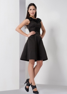 Black A-line Satin Beading Prom Little Black Dresses
