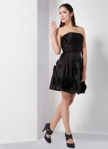 Black Prom Little Black Dresses Strapless Ruch Flowers