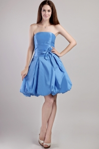 Blue Strapless Taffeta Graduation Homecoming Dress