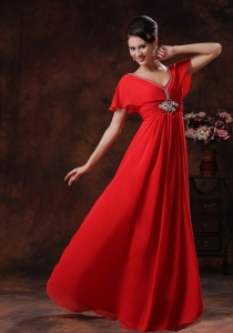 Custom Red Chiffon Maxi Evening Dresses In 2013