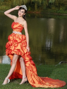 Orange Red Taffeta Pageant Celebrity Dress Strapless