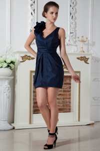Navy Blue Prom Homecoming Dress Column V-neck Taffeta