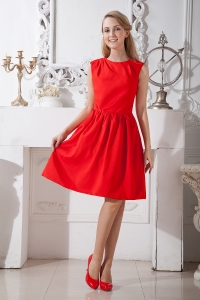 Red Knee-length Taffeta Graduation Homecoming Dresses