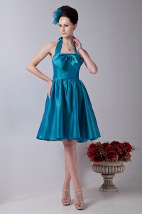 Teal Taffeta Bowknot Graduation Homecoming Dress