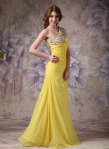 Yellow Pageant Celebrity Dress Column Chiffon Ruch
