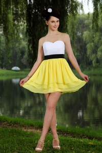 Yellow White Graduation Homecoming Dress Empire Sashes