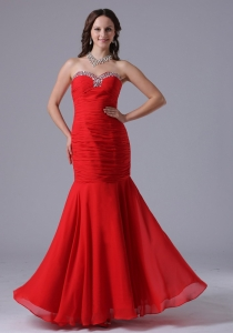 Red Mermaid Pageant Evening Dress Beading Ruch