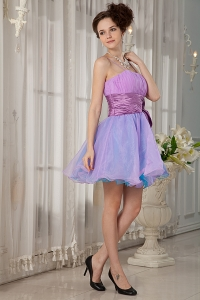 Spaghetti Straps Mini-length Organza Ruch Prom Homecoming Dress