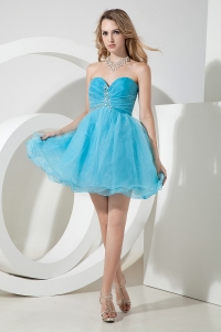 Sweetheart Beaded Prom Graduation Dress Organza Aqua Blue