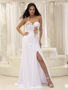 Appliques Prom Pageant Dress One Shoulder Ruched High Slit