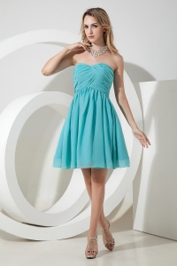 Prom Graduation Dress Aqua Strapless Chiffon Ruch Knee-length