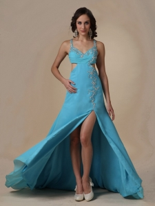 Aqua Blue Spaghetti Straps Chiffon Beading Prom Pageant Dress