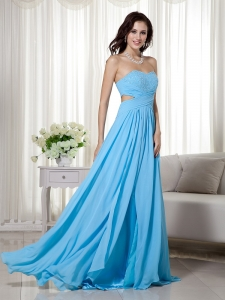 Aqua Blue Pageant Evening Dress Sweetheart Chiffon Beading