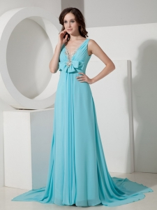 Aqua Maxi/Celebrity Dress V-neck Chiffon Beading Ruching